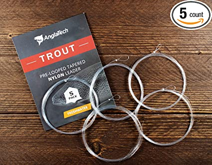 Anglatech Fly Fishing Leader Line 3 x 7.5ft 5 Pack Pre-Looped Nylon