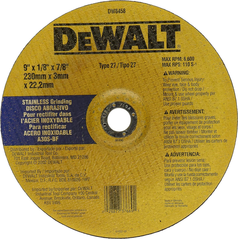 DEWALT DW8458 9-Inch by 1//8-Inch by 7//8-Inch Stainless Steel Wheel