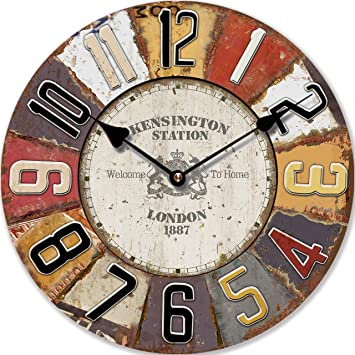 RELOJ DE PARED DISENO LONDRES REDONDO SHABBY MULTICOLOR RELOJ DE COCINA NOSTALGIA - CUARZO - Tinas Collection: Amazon.es: Hogar