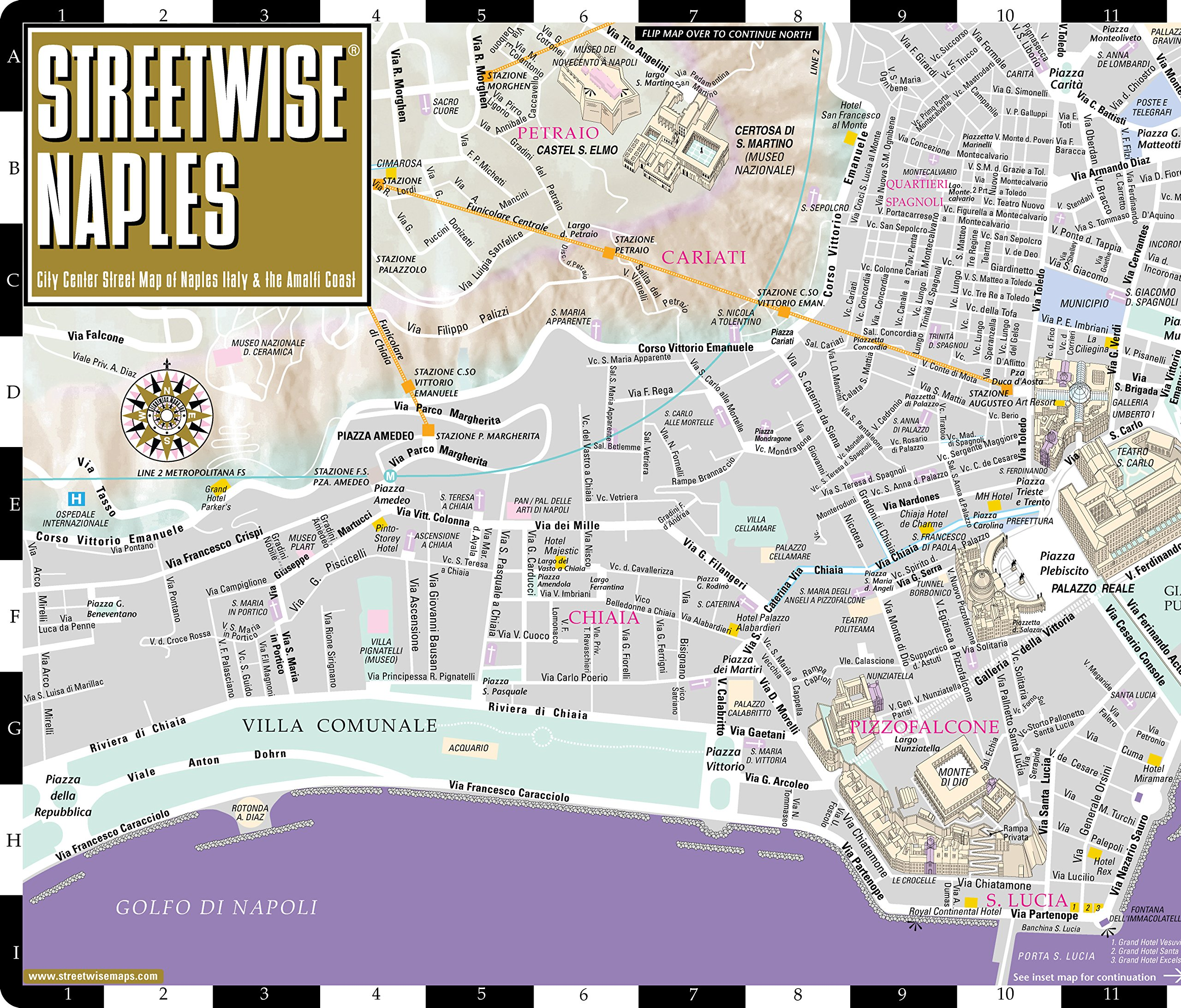 streetwise naples map  laminated city center street map of naples italy folding pocket size travel map with metro lines  stations streetwise maps. streetwise naples map  laminated city center street map of naples