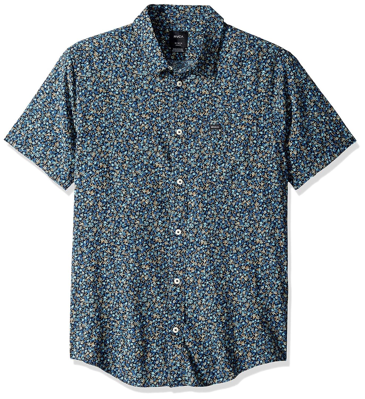 RVCA Mens Revivalist Floral Short Sleeve Woven Button Front Shirt