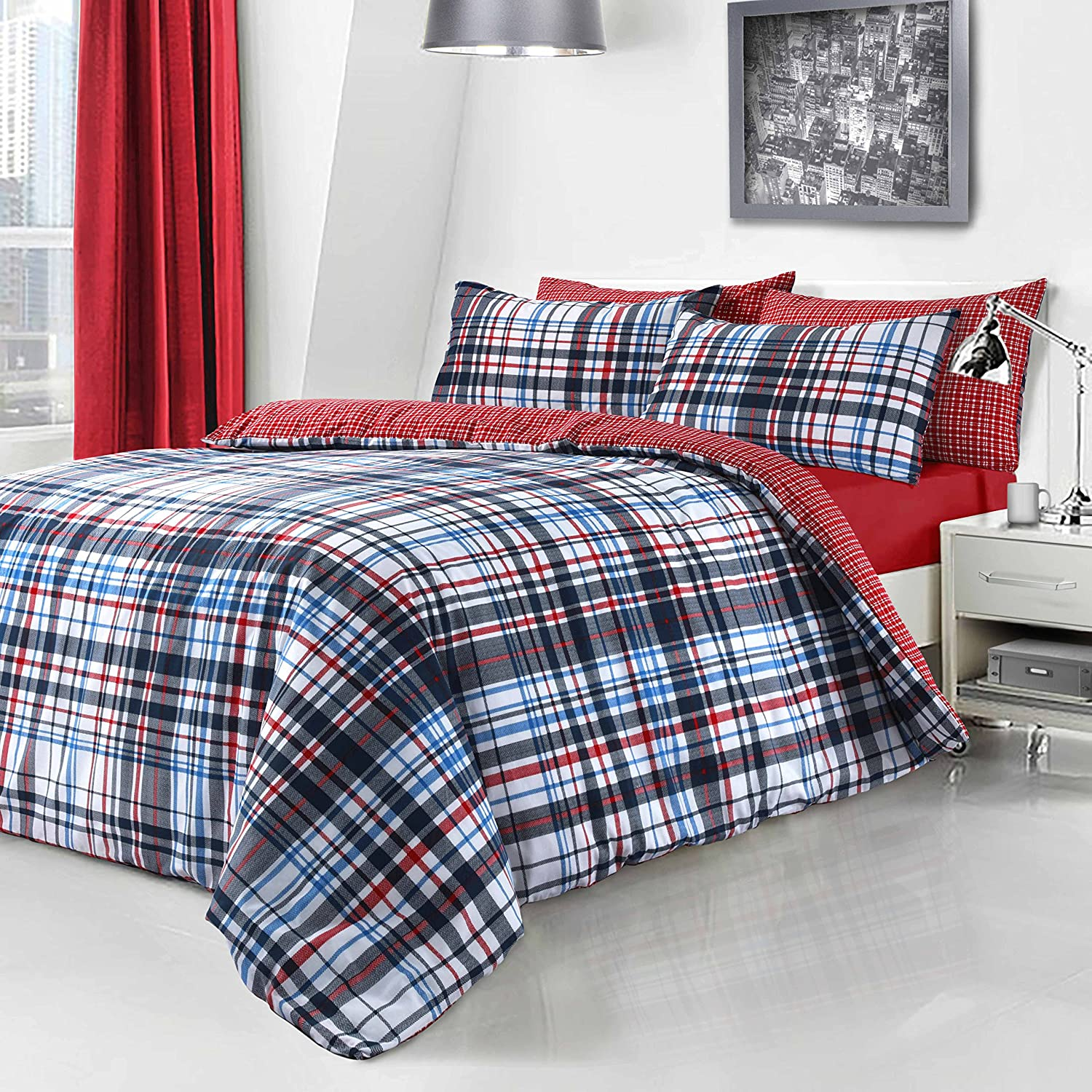 PIERIDAE Blue Check Duvet Quilt Cover + PillowCases (Double)