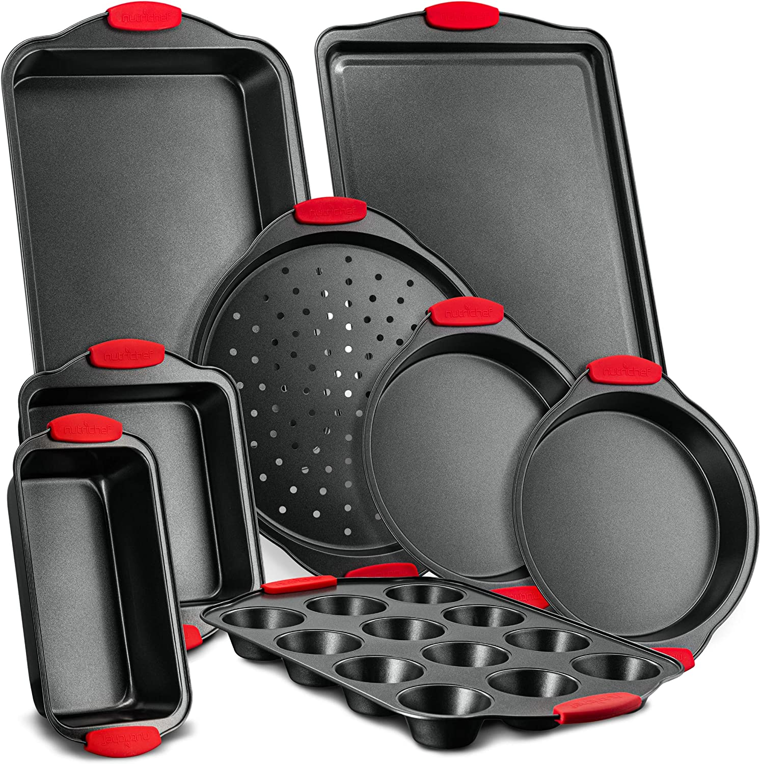 Nutrichef NCSBS8S 8-Piece Carbon Steel Nonstick Bakeware Baking Tray Set w/Heat Red Silicone Handles, Oven Safe Up to 450°F, Black