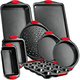 Nutrichef 8-Piece Carbon Steel Nonstick Bakeware Baking Tray Set w/Heat Red Silicone Handles, Oven Safe Up to 450°F…