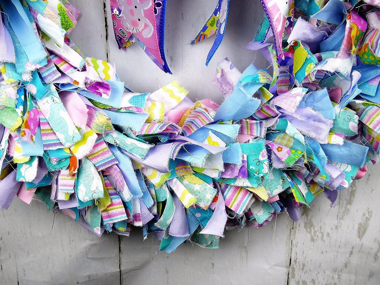Amazon.com: Easter Fabric Wreath, Easter Rag Wreath, Pastel Colored ...