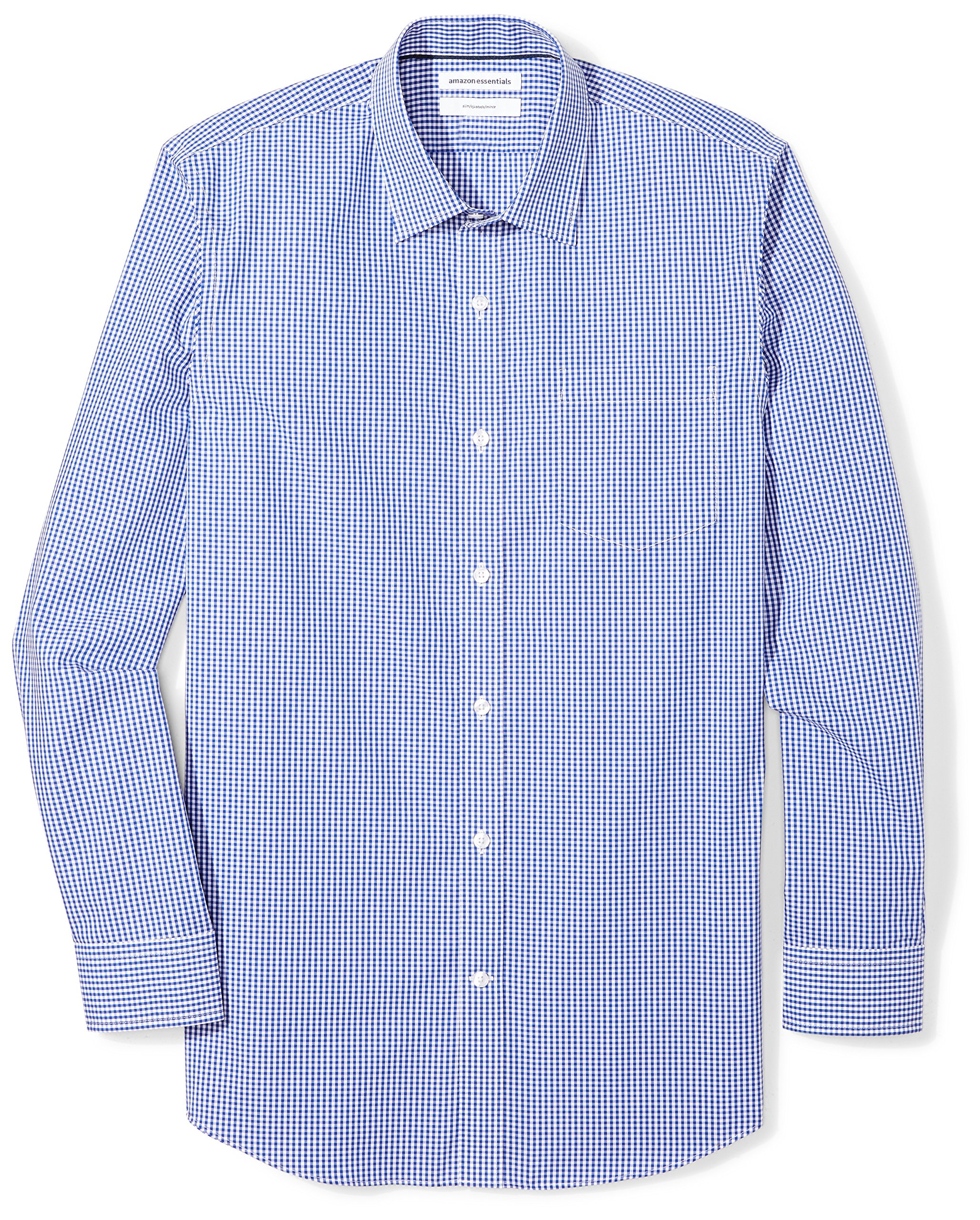 Amazon Essentials Men's Slim-Fit Wrinkle-Resistant Long Plaid Dress Shirt, Blue Gingham, 16.5'' Neck 32''-33'' Sleeve