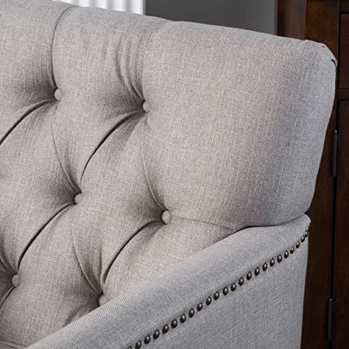 Christopher Knight Home Medford Classic Tufted Fabric Arm Chair, Pewter