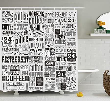 Vintage Shower Curtain By Ambesonne Mega Set Of Retro Coffee Labels