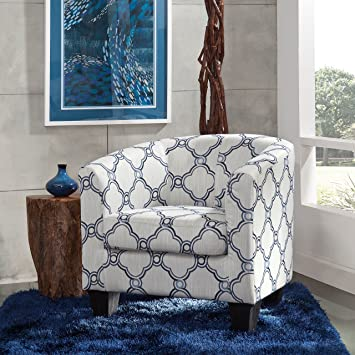 Marvelous Grafton Barrel Accent Chair One Size Blue Quatrefoil Machost Co Dining Chair Design Ideas Machostcouk