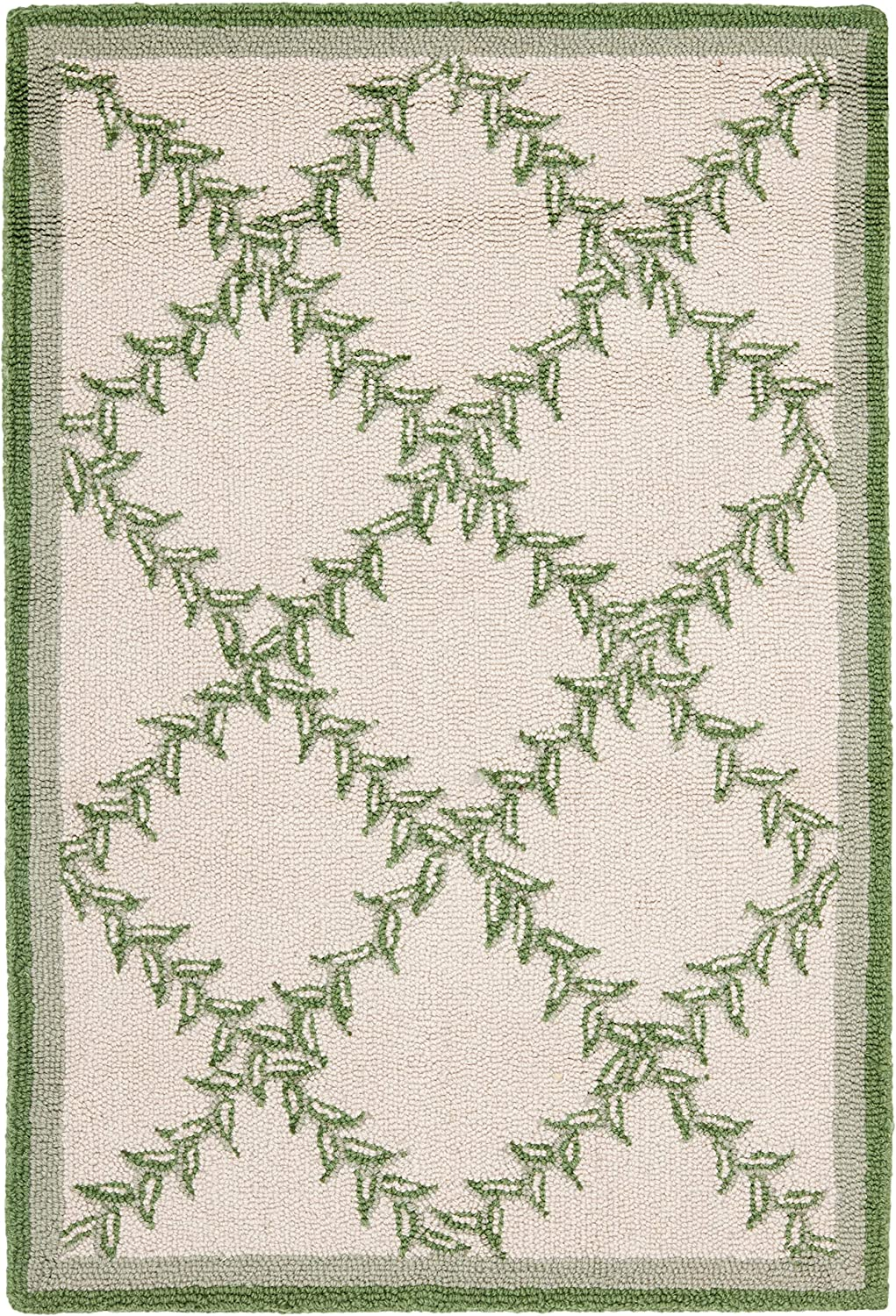 Safavieh Chelsea Collection HK230B Hand-Hooked Ivory and Light Green Premium Wool Area Rug (1'8