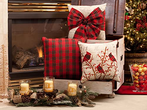 Pillow Perfect Holiday Plaid Bowknot Throw Pillow, 16.5 x 16.5 , Red Natural Black