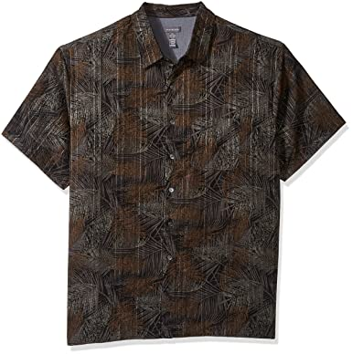 41a8ada5a Van Heusen Men's Size Big and Tall Oasis Printed Short Sleeve Shirt, Black,  Large