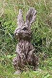 Garden Ornament Rabbit Hare Sculpture indoor outdoor Wood Effect