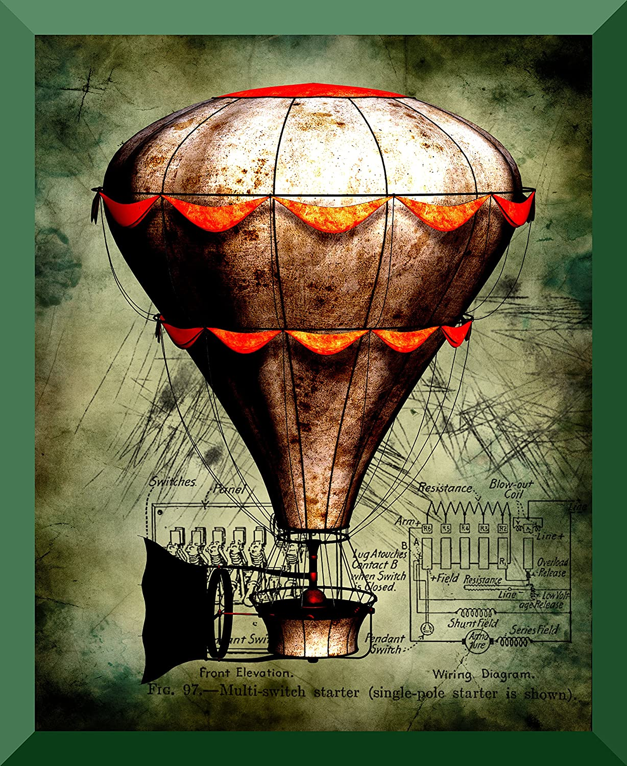 Gorgeous Steampunk Hot Air Balloon Art Print 8 X 10 Switch Wiring Diagram Fld Glossy Archival Ink Posters Prints