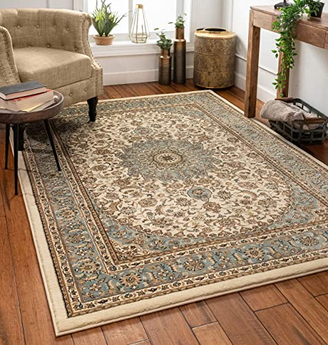 Sultan Medallion Ivory Blue Oriental Area Rug 8 x 11 7 10 x 10 6 Persian Floral Traditional Easy Clean Stain Fade Resistant Modern Classic Contemporary Thick Soft Plush Living Dining Room