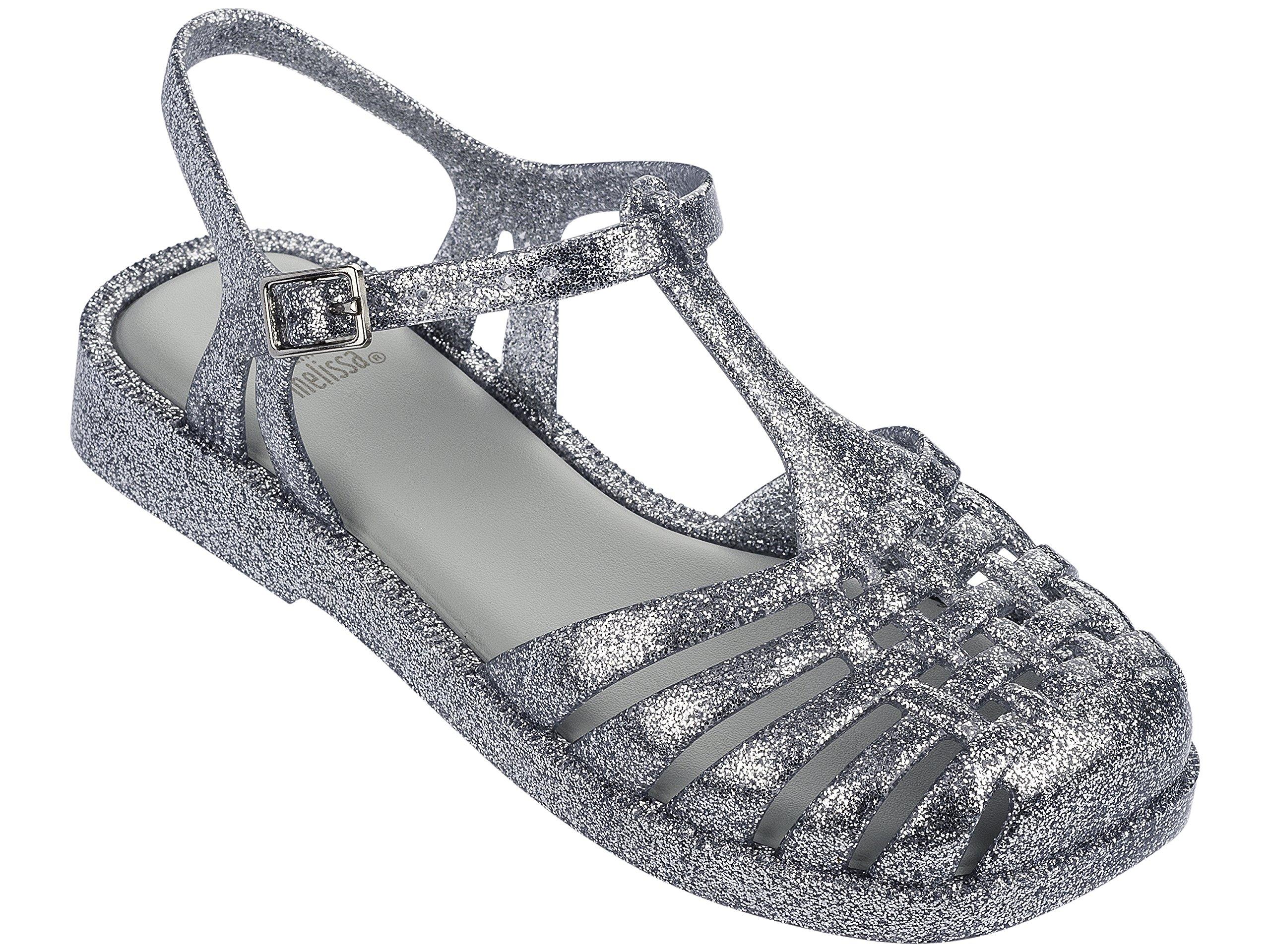 Mini Melissa Girls' Mel Aranha Quadrada, Silver Glass Glitter, 3 Regular US Little Kid
