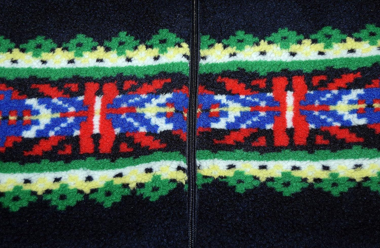 Ralph Lauren Polo Mens Southwestern Indian Zip Fleece Sweater Jacket Black Large