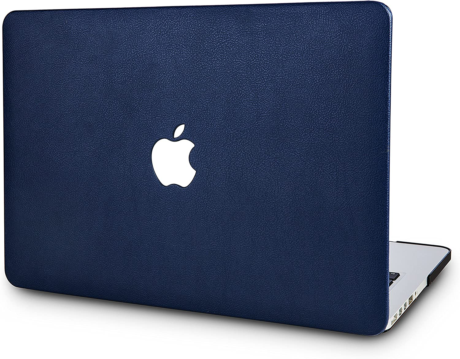 "KECC Laptop Case for MacBook Pro 15"" (2019/2018/2017/2016) Italian Leather Hard Shell Cover A1990/A1707 Touch Bar (Navy Blue Leather)"