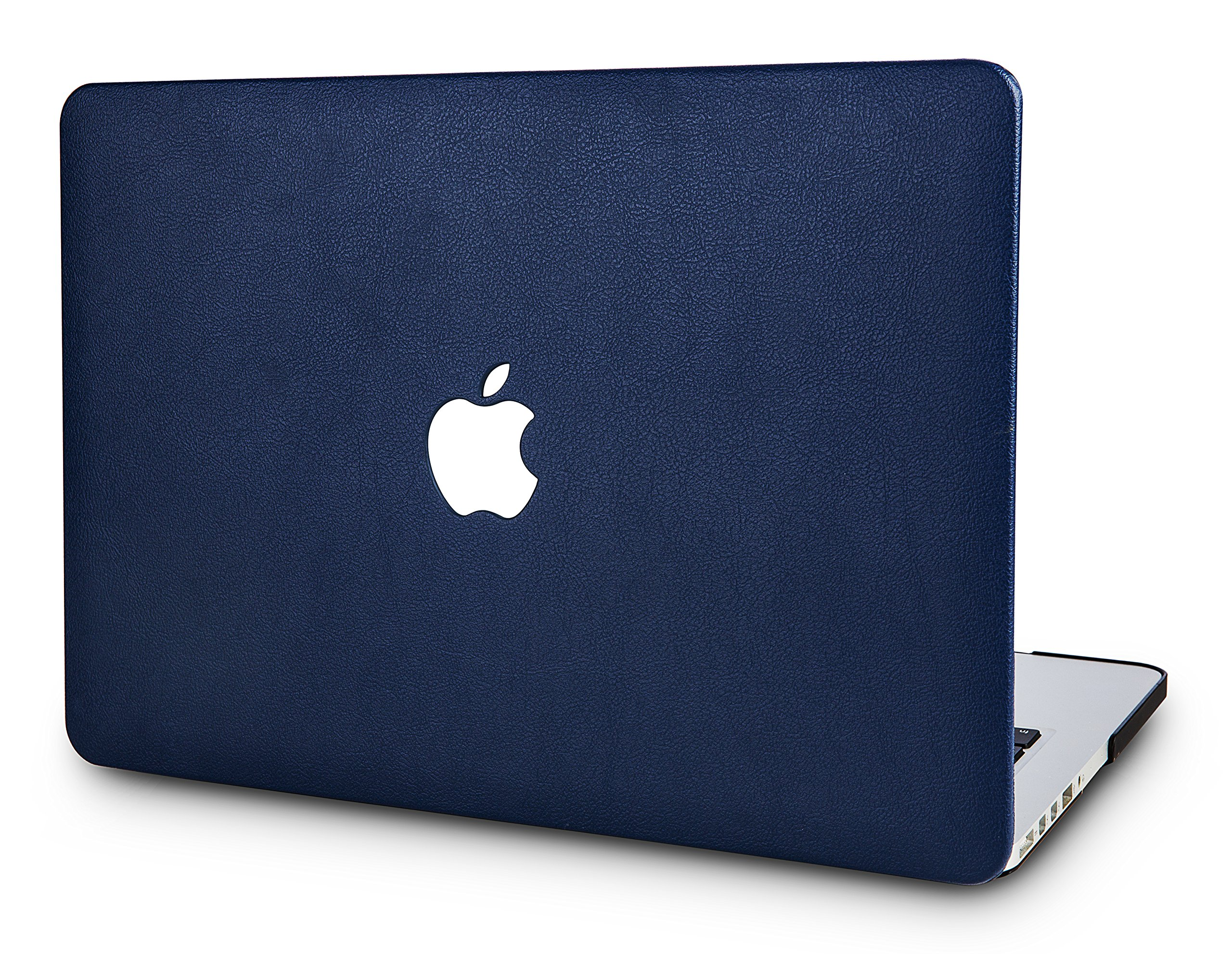 KEC Laptop Case for MacBook Pro 15'' (2019/2018/2017/2016) Italian Leather Cover A1990/A1707 Touch Bar (Navy Blue Leather)