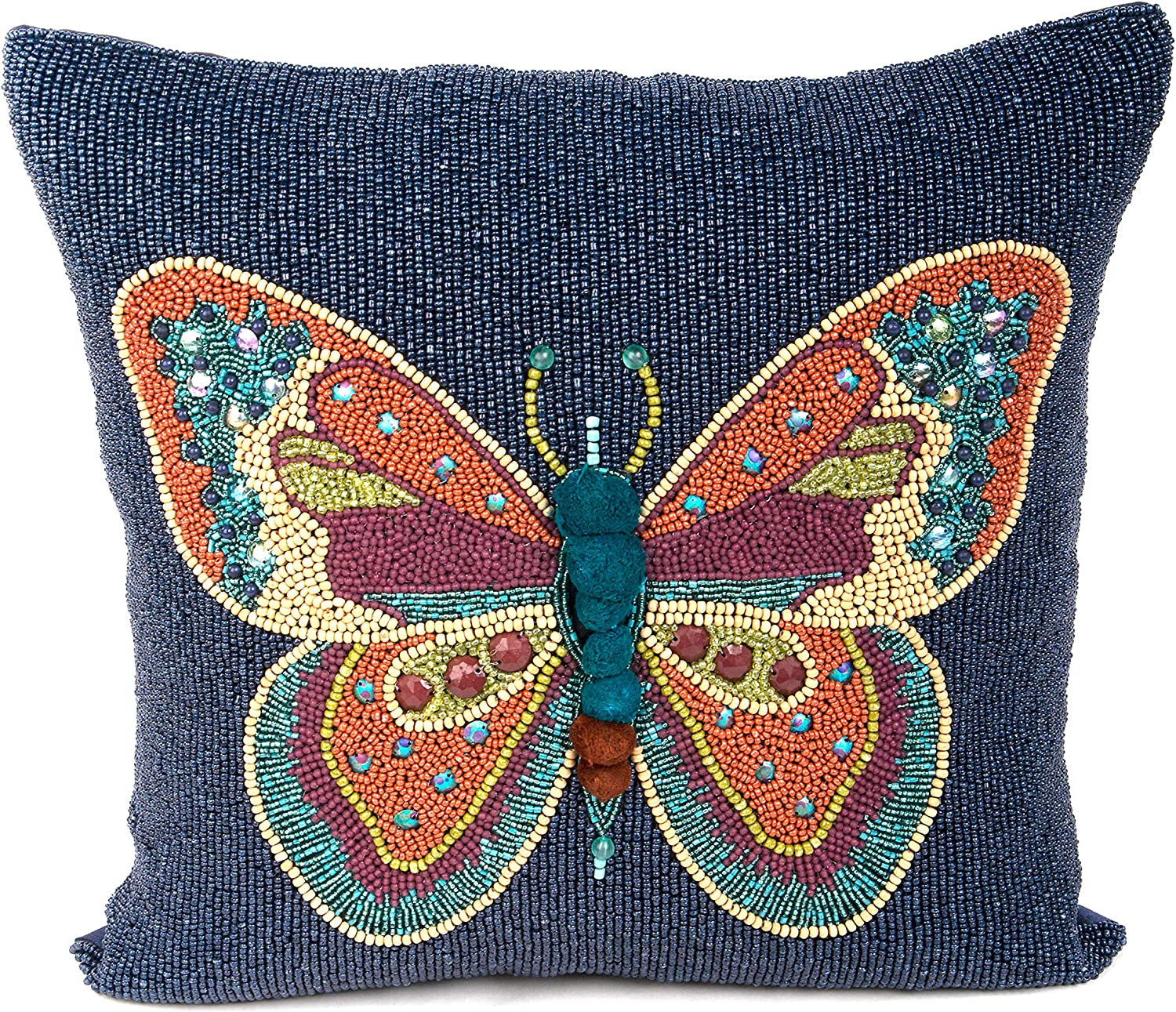 MacKenzie-Childs Boheme Butterfly Pillow, Decorative Throw Pillow Cushions, 16 Inches x 16 Inches