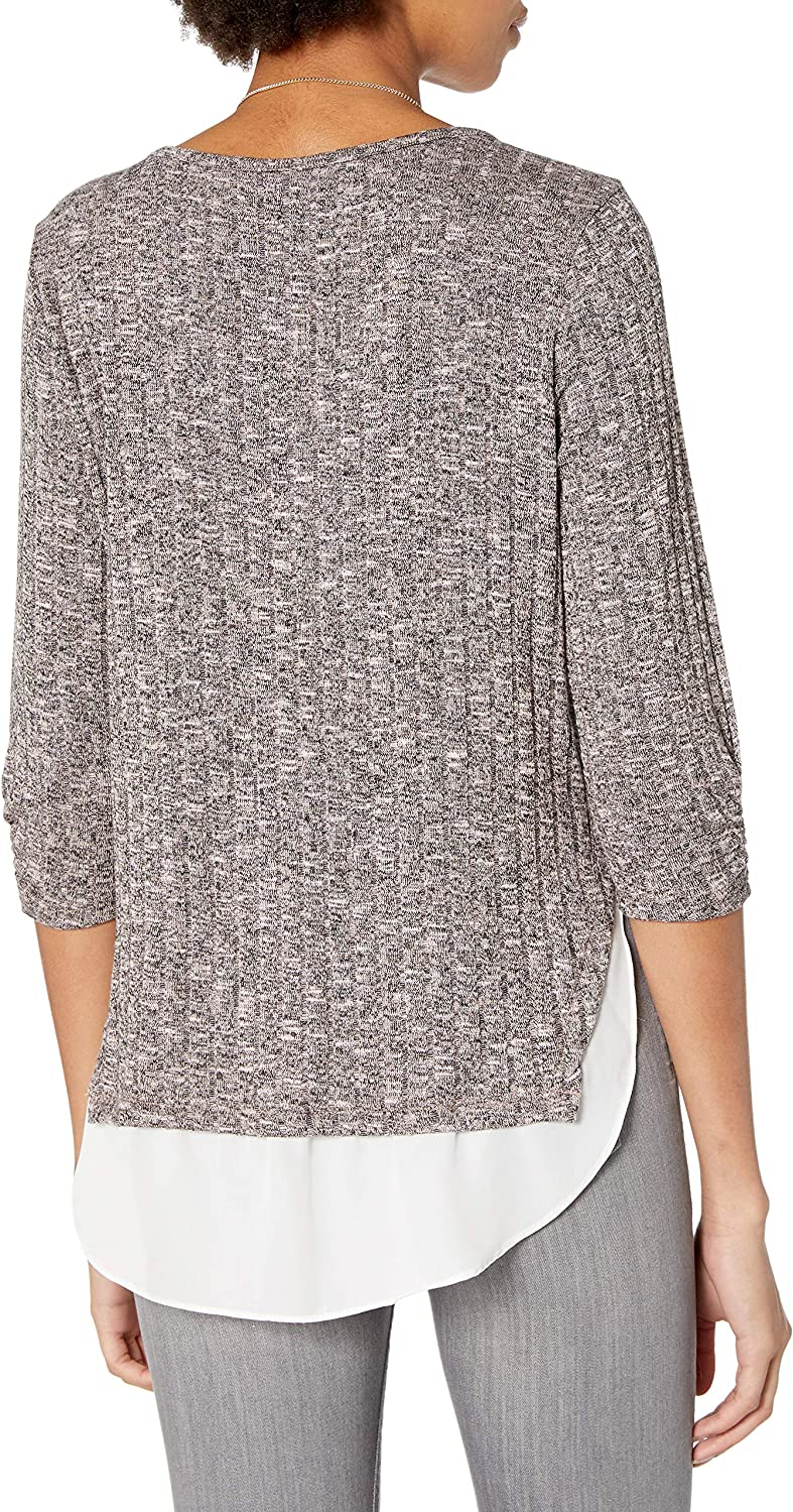 Byer Womens Cinch Sleeve Top with Chiffon Hangdown A