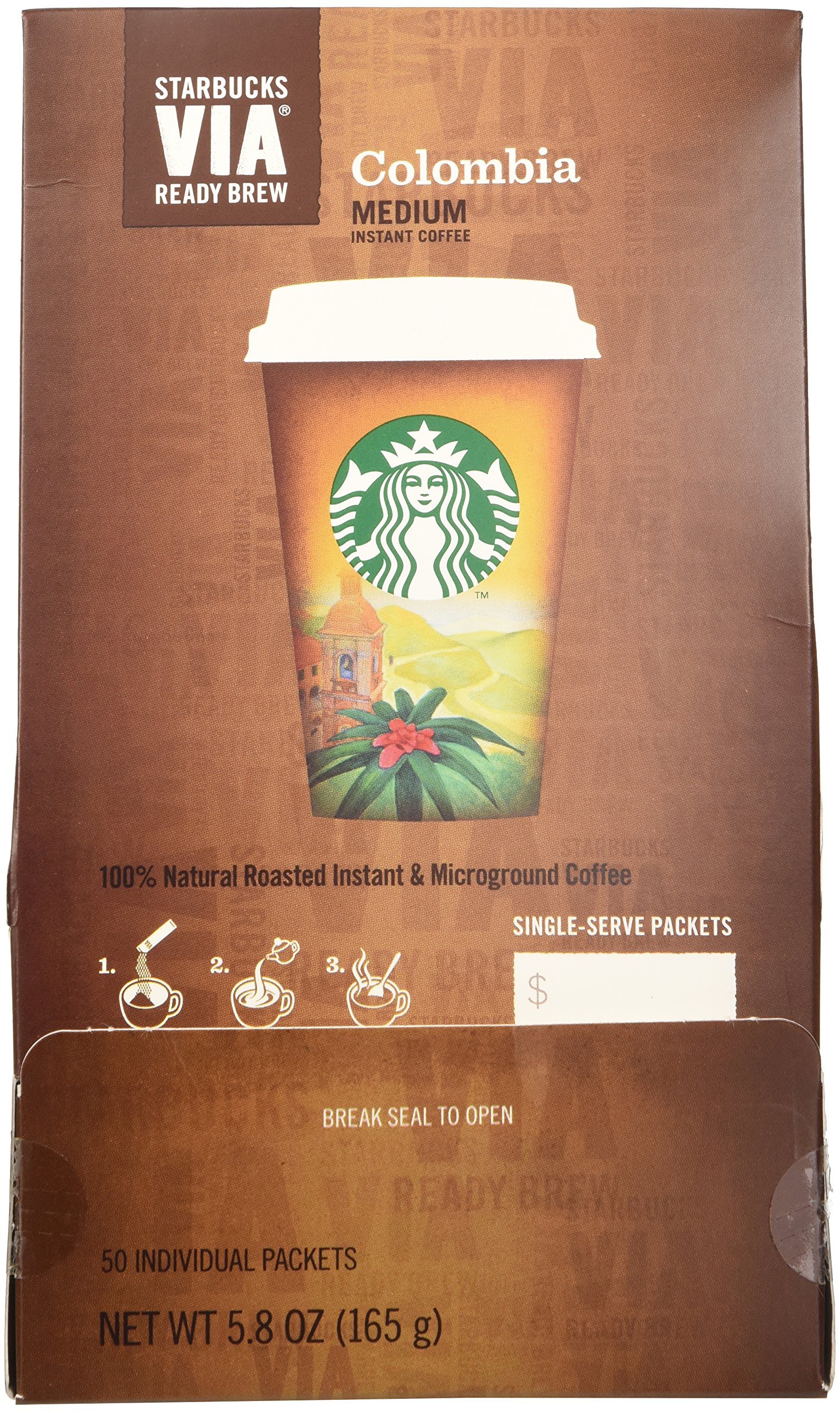 Starbucks VIA Ready Brew Coffee, Colombia, 3.3-Gram Packages,50 Count (packaging may vary) by Starbucks