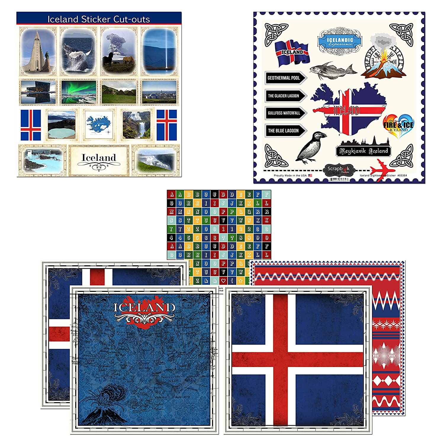 Amazon com scrapbook customs themed paper and stickers scrapbook kit iceland sightseeing