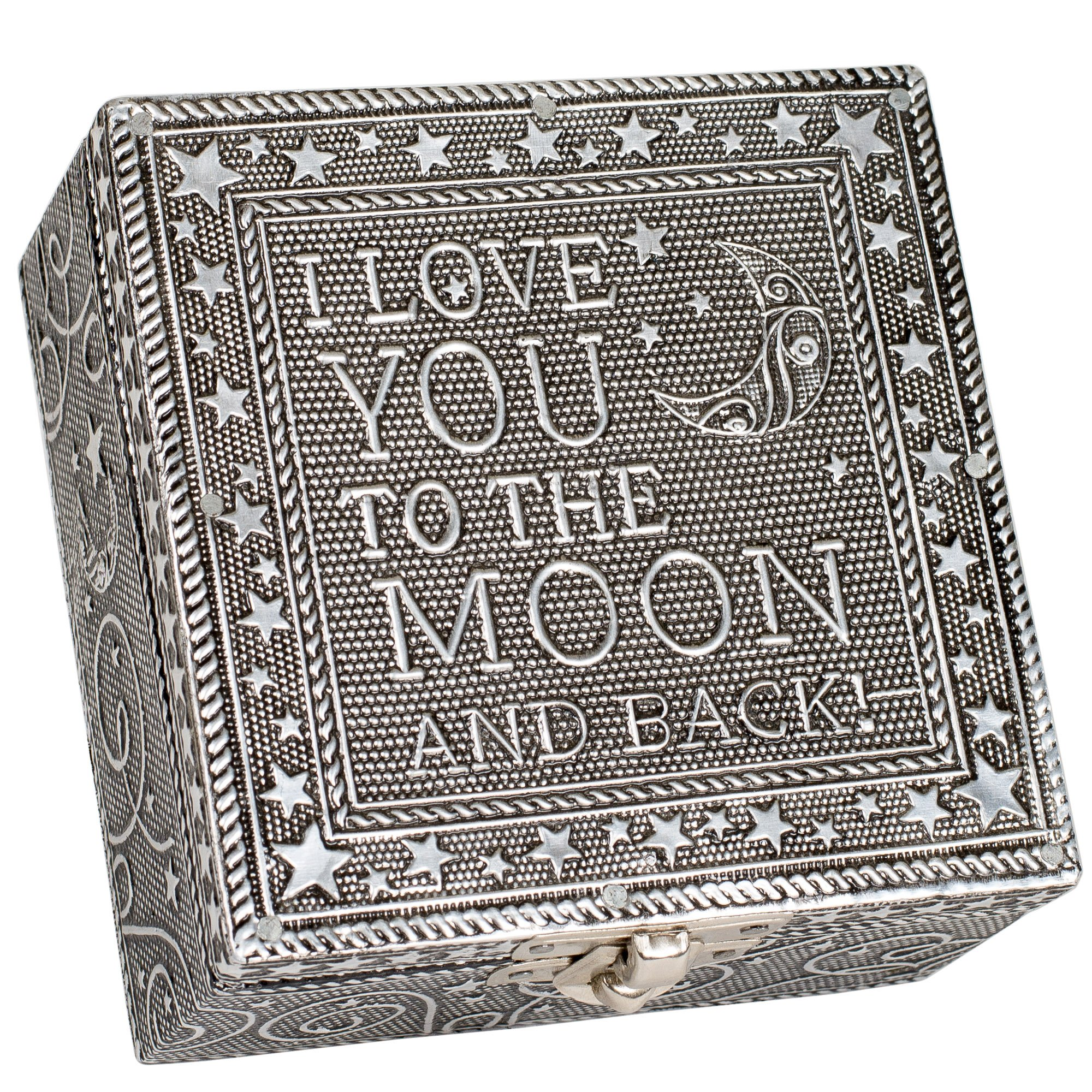 I Love You to the Moon Silver Color Artisan Metal Jewelry Box