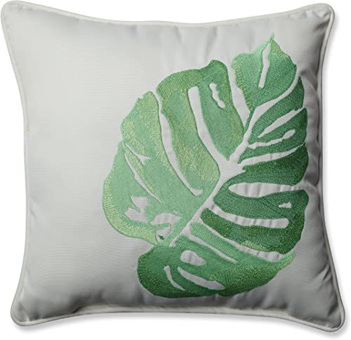 Pillow Perfect Outdoor Indoor Leaf Embroidery green 18 Throw pillow