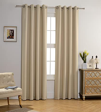 MYSKY HOME Solid Grommet Top Thermal Insulated Window Blackout Curtains, 52  X 84 Inch,