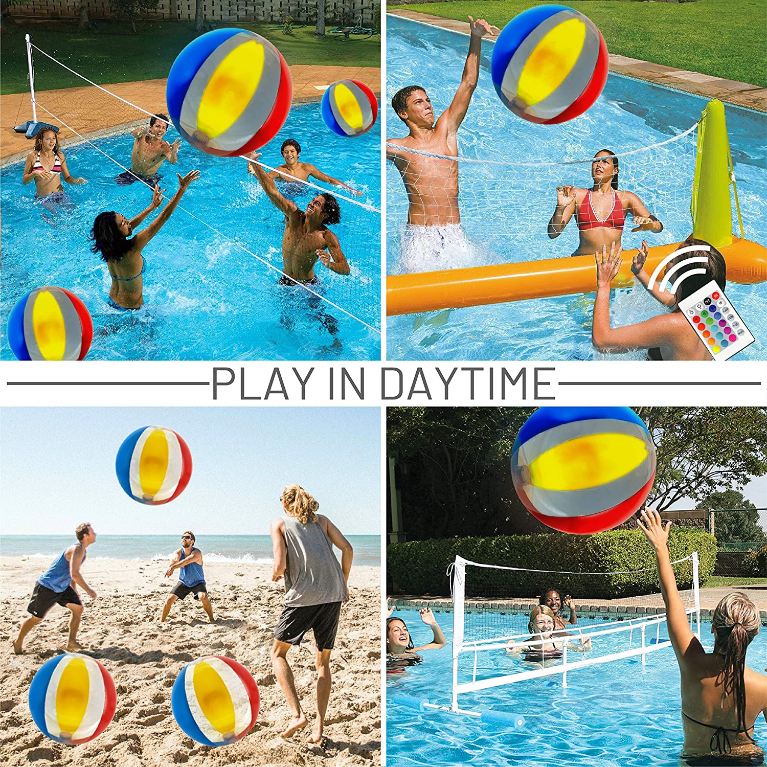 Pool Games for Adults Kids Glow in The Dark Home Patio Garden Swimming Party Decorations 16 Light Colors 4 Light Modes Glow Ball Funny Monkeys Pool Toy 18 Inflatable Light up Beach Ball