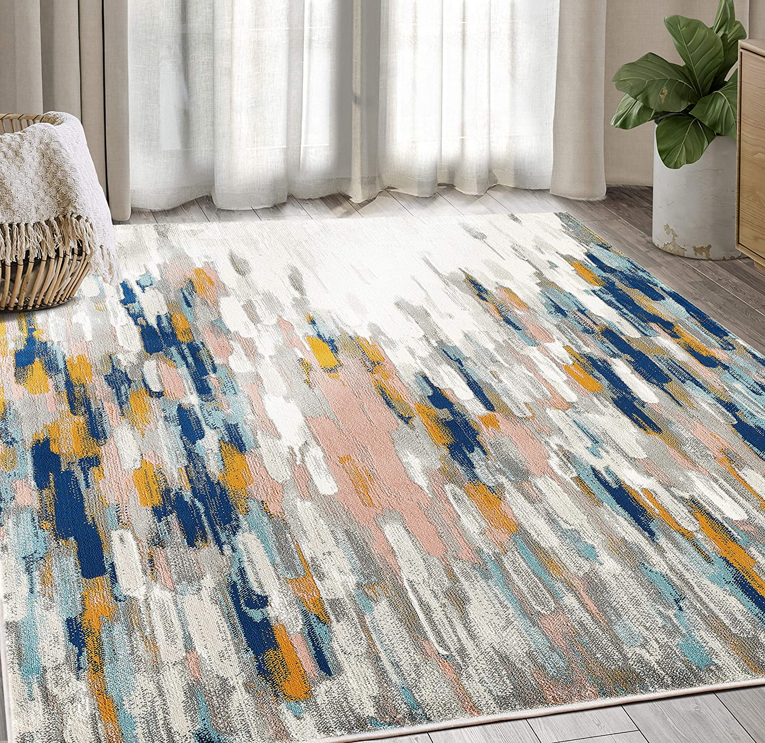 Abani Rugs Orange & Blue Contemporary Abstract Area Rug Contemporary Style, Porto Collection | Turkish Made Superior Comfort & Construction | Stain Shedding Resistant, 6' x 9' Rectangle