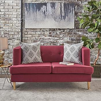 Muraco Mid Century Modern Fabric Loveseat (Deep Red)