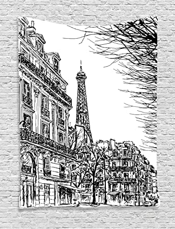 Amazoncom Ambesonne Paris Decor Collection Sketch Of Parisian