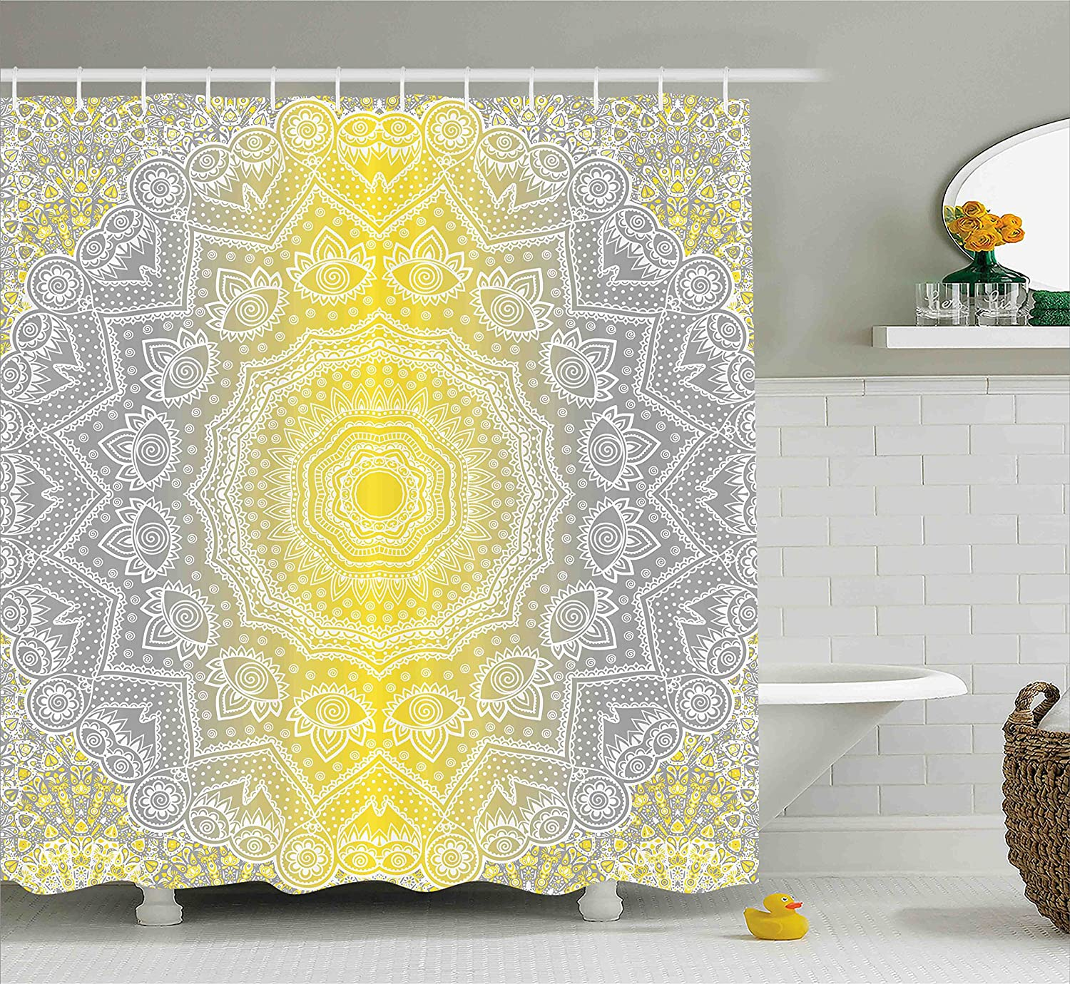 Ambesonne Grey And Yellow Shower Curtain Mandala Ombre Tribal Boho Pattern With Spiral Round Ancient Floral Print Fabric Bathroom Decor Set Hooks