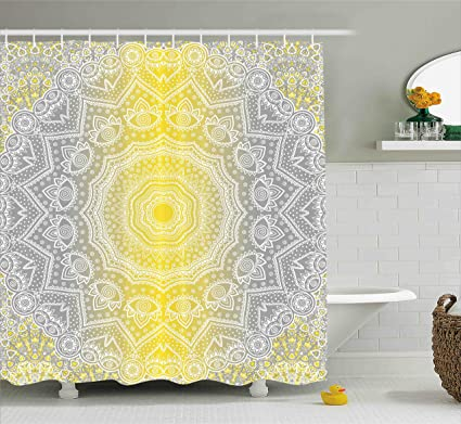Ambesonne Grey And Yellow Shower Curtain Mandala Ombre Tribal Boho Pattern With Spiral Round Ancient