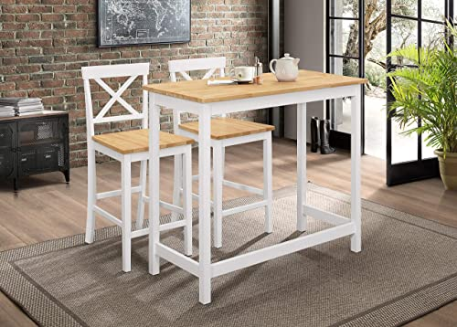 Kings Brand Furniture Calais 3-Piece Counter-Height Kitchen Dining Set, Table 2 Stools