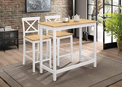 Kings Brand Furniture – Calais 3-Piece Counter-Height Kitchen Dining Set,  Table & 2 Stools