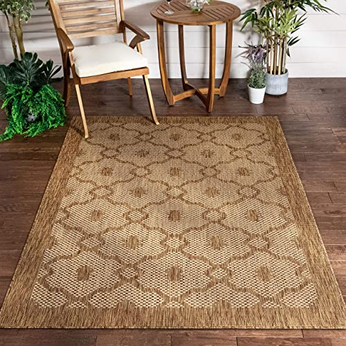 Well Woven Sunna Brown Beige Indoor Outdoor Flat Weave Pile Moroccan Trellis Pattern Area Rug 8×10 7 10 x 9 10