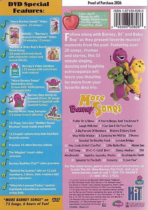Amazon com: Barney - More Barney Songs: Barney: Movies & TV