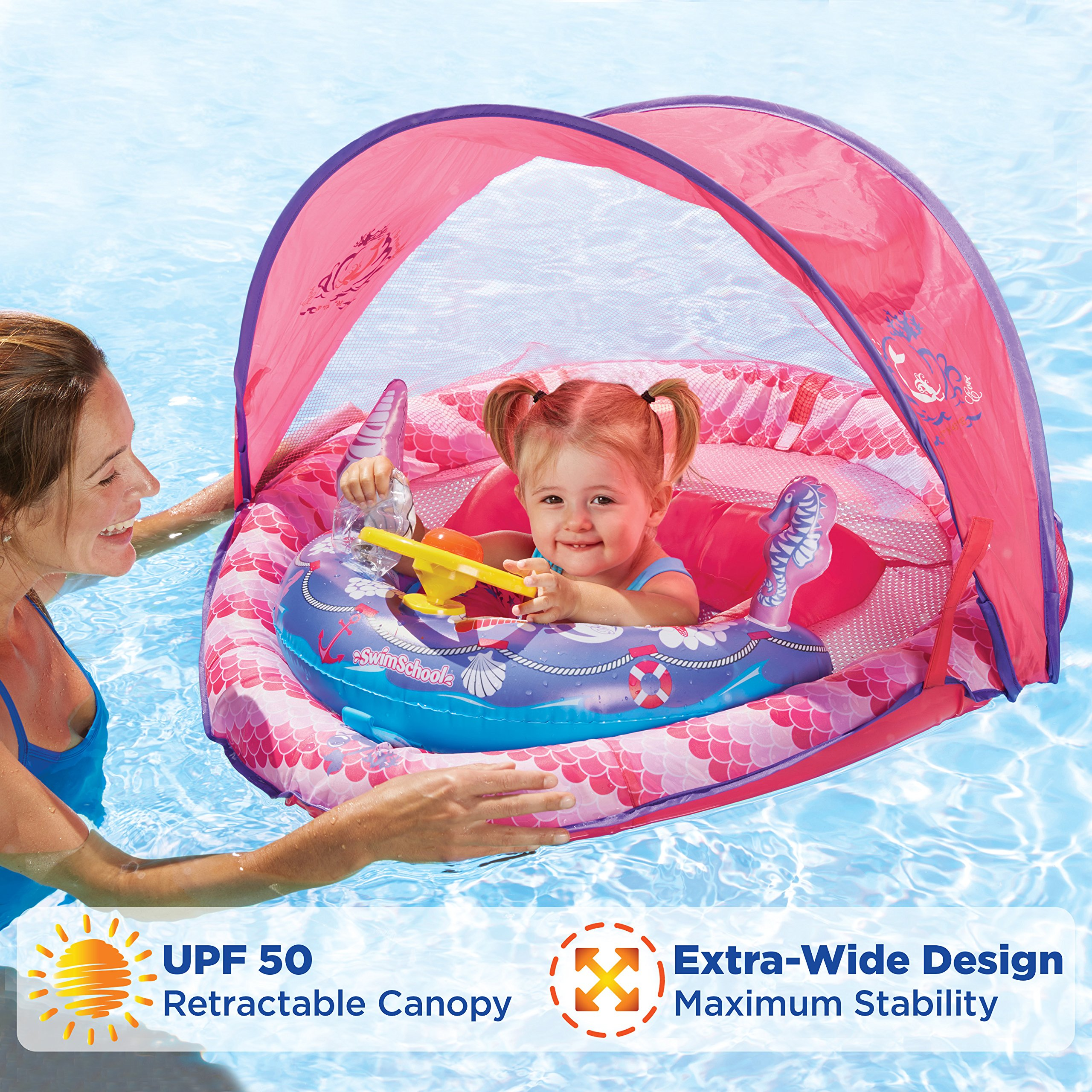 SwimSchool Lil' Mermaid Fabric  Baby Boat, Canopy, UFP50, Sound & Light Activity Center, Extra-Wide Inflatable Pool Float, 6 to 18 months, Pink