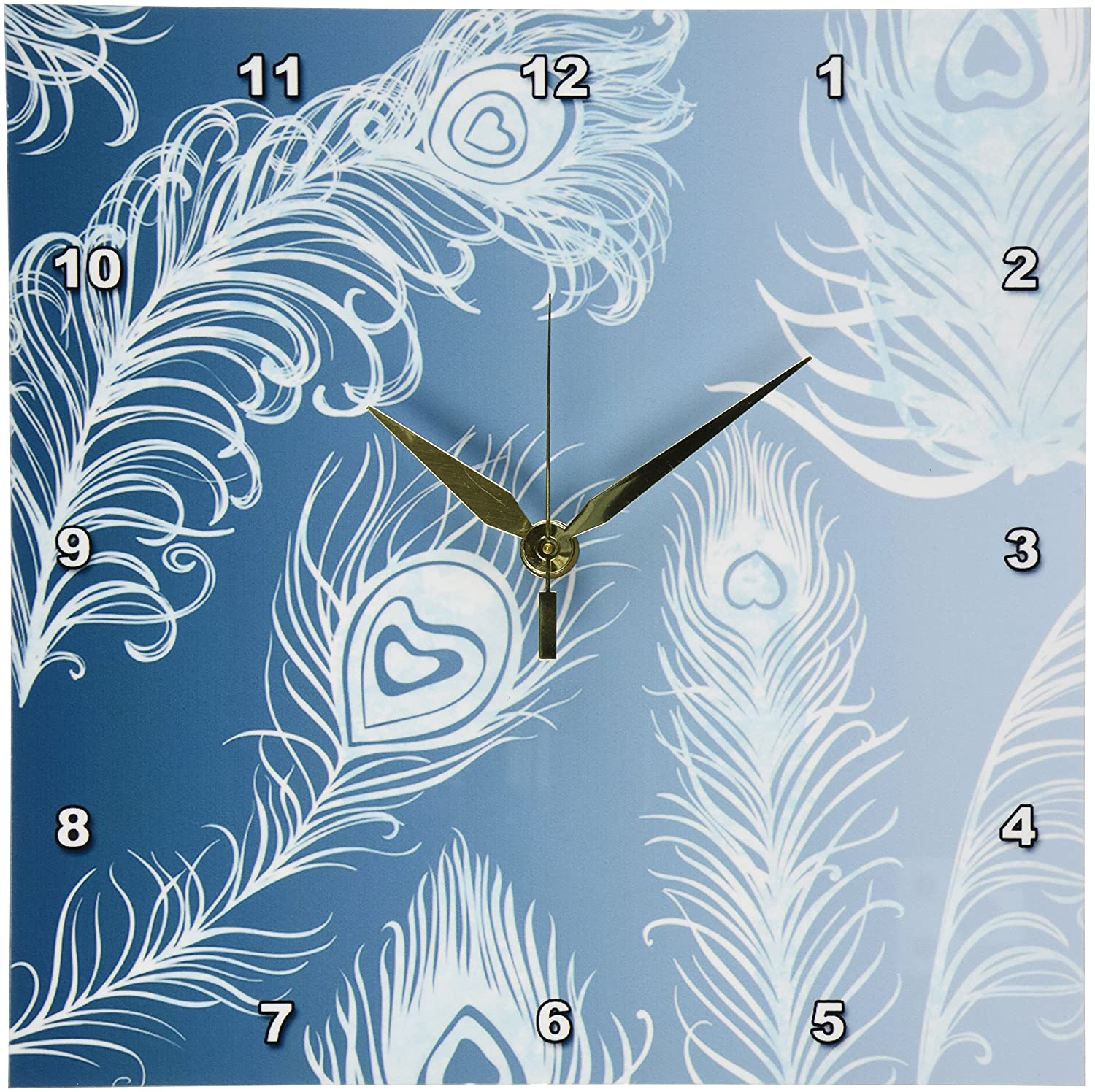 3dRose dpp/_130623/_1 Teal and White Peacock Feathers Wall Clock 10 by 10-Inch