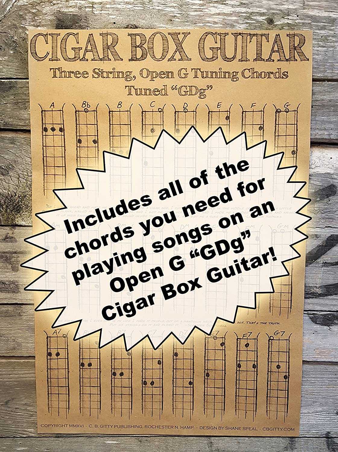 Chords Poster For 3 String Cigar Box Guitars All The Most Popular Chords For Open G Gdg Tuning