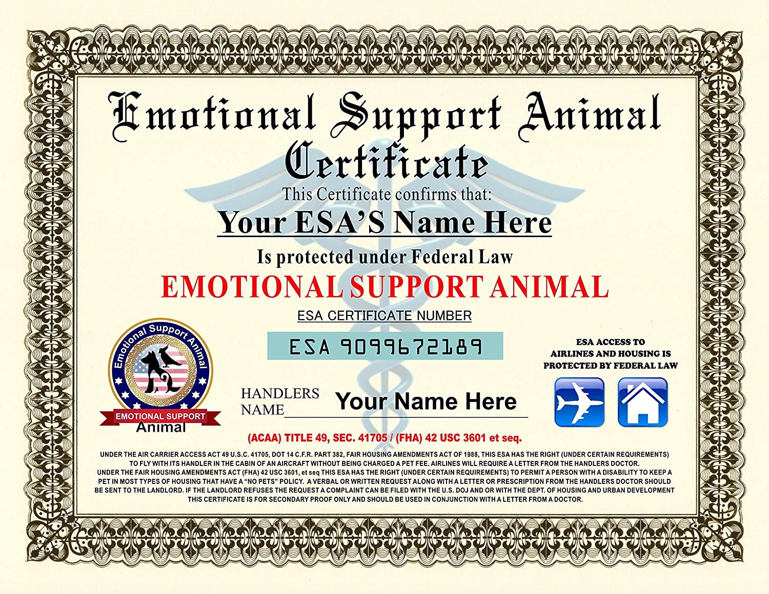 Amazon emotional support animal certificate customizable amazon emotional support animal certificate customizable with pets handlers name pet supplies 1betcityfo Gallery
