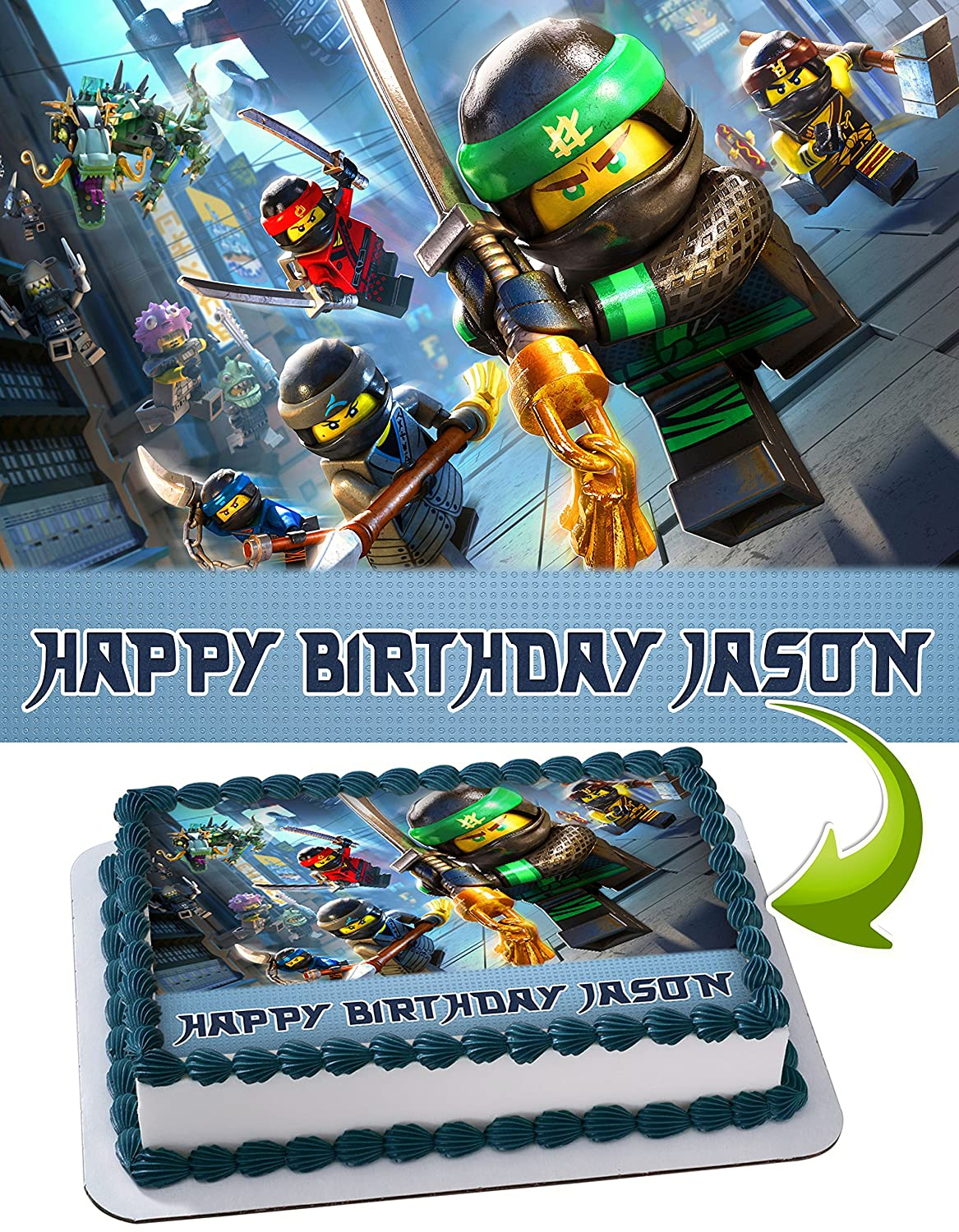 Lego Ninjago Personalized Cake Toppers Icing Sugar Paper A4 Sheet