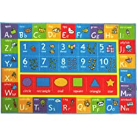 "Kev & Cooper Playtime Collection ABC, Numbers and Shapes Educational Area Rug - 5'0"" x 6'6"""