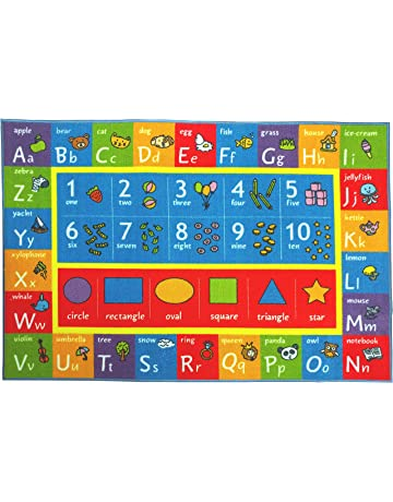 High Quality KC Cubs Playtime Collection ABC, Numbers And Shapes Educational Learning Area  Rug Carpet For Kids