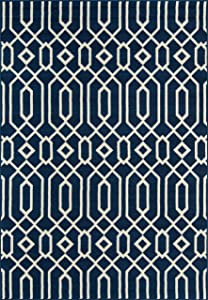 """Momeni Rugs , Baja Collection Contemporary Indoor & Outdoor Area Rug, Easy to Clean, UV protected & Fade Resistant, 2'3"""" x 4'6"""", Navy Blue"""
