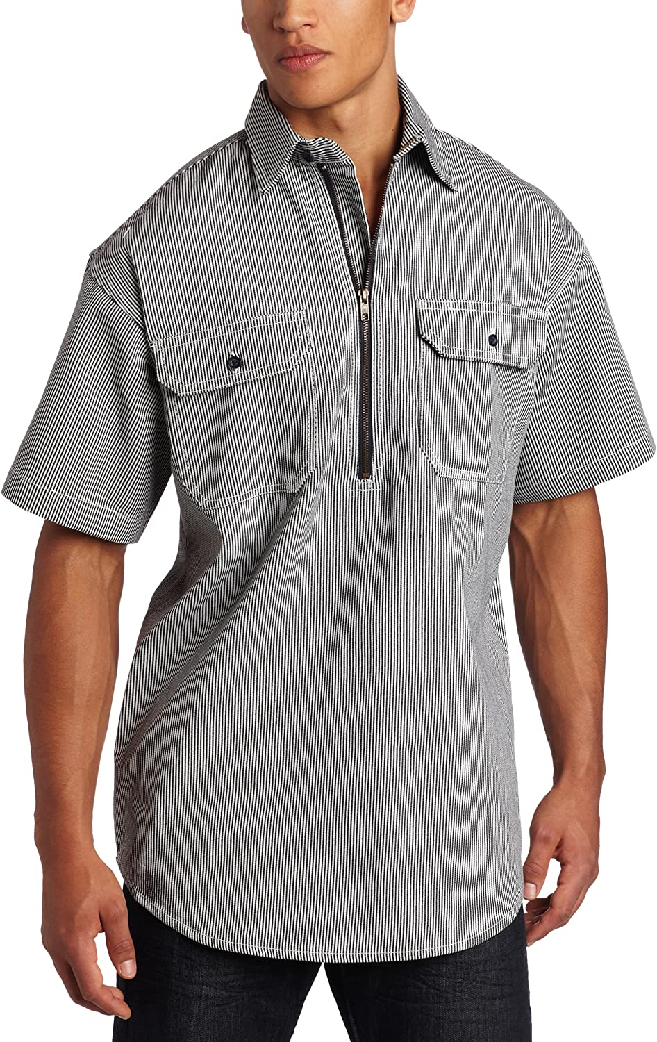 Men's Vintage Workwear Inspired Clothing Key Industries Mens Short Sleeve Zip Front Hickory Stripe Logger Shirt $31.98 AT vintagedancer.com