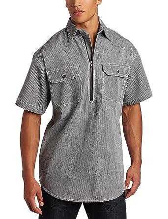393df4f08e Amazon.com: Key Apparel Men's Short Sleeve Zip Front Hickory Stripe Logger  Shirt: Button Down Shirts: Clothing